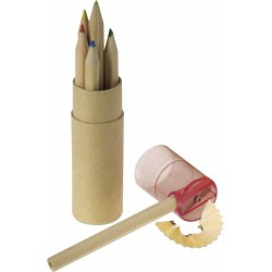 Σετ από  6 χρωματιστά μολύβια και ξύστρα €  0,45