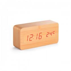 Ξύλινο ρολόι ξυπνητήρι θερμόμετρο € 19,00